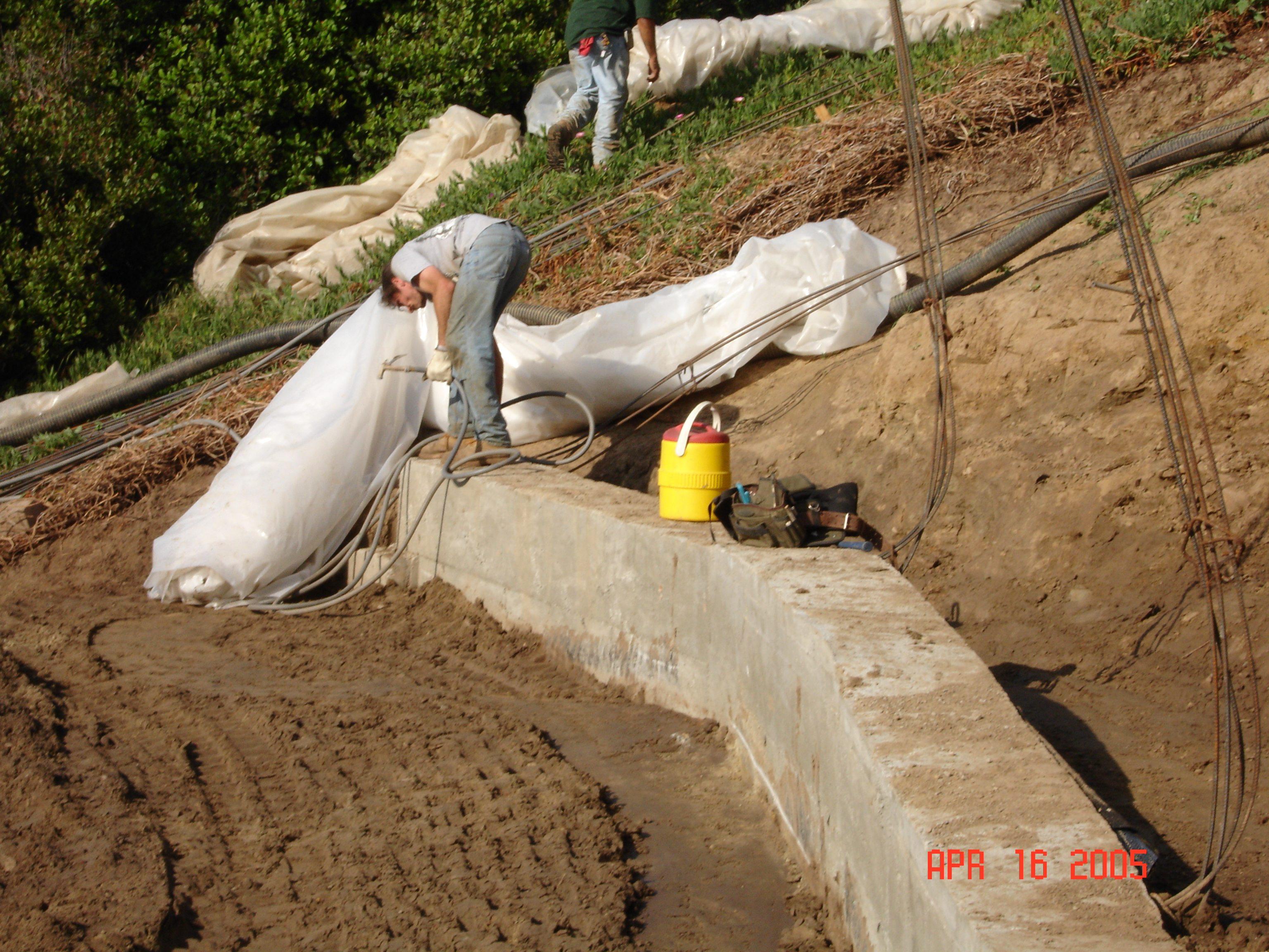 Landslide repair Washington st-Concrete Buttress Wall to stablizes lanslide